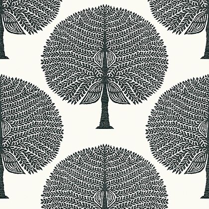 Thibaut Mulberry Tree Wallpaper in Black